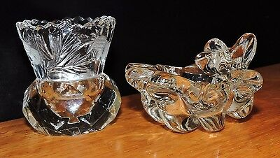 Cut glass thistle vase , and shell shaped dish
