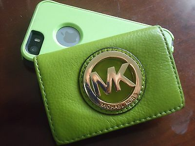 Michael Kors Green Leather Flap Card Holder Small Wallet