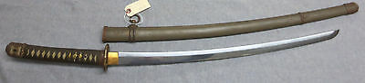WWII Japanese Samurai sword, Army katana, with scabbard and SIGNED on tang