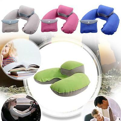 INFLATABLE TRAVEL NECK PILLOW - Soft FLIGHT REST/SUPPORT CUSHION HEAD & NECK -FI