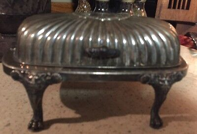 F B Rogers Silver Co. #357 Lion Face Leg Butter Dish