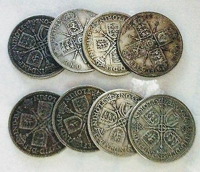 Eight George V pre 47 silver florins