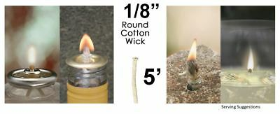 1/8 Round Cotton Wick 5' Kerosene Lantern Lamp Tiki Rock Candle Wick USA Seller