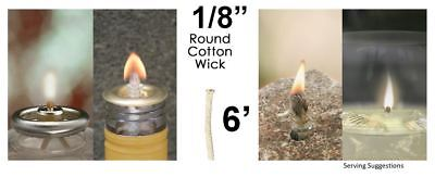 1/8 Round Cotton Wick 6' Kerosene Lantern Lamp Tiki Rock Candle Wick USA Seller