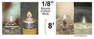 1/8 Round Cotton Wick 8' Kerosene Lantern Lamp Tiki Rock Candle Wick USA Seller