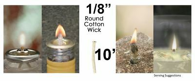 1/8 Round Cotton Wick 10' Kerosene Lantern Lamp Tiki Rock Candle Wick USA Seller