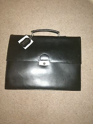 NEW Men's Leather Briefcase - BLACK