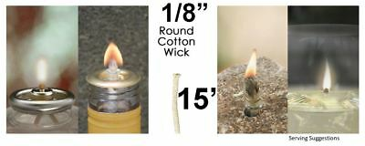 1/8 Round Cotton Wick 15' Kerosene Lantern Lamp Tiki Rock Candle Wick USA Seller