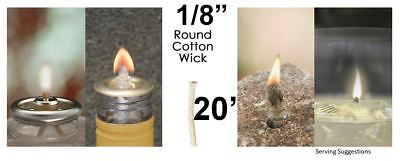 1/8 Round Cotton Wick 20' Kerosene Lantern Lamp Tiki Rock Candle Wick USA Seller