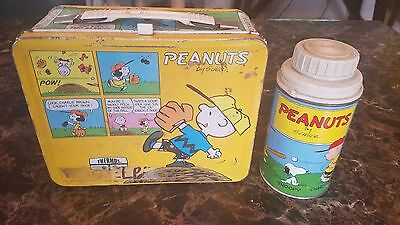 PEANUTS Charlie Brown Snoopy Vintage METAL Lunchbox with Thermos Lunch Box