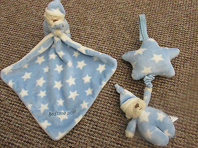 Mothercare Plush Teddy Comforter Blanket + Matching Musical Cot Toy