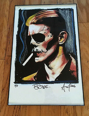 DAVID BOWIE Skull rare framed fine art print Signed #d POSTER Glam Rock LP WOW!