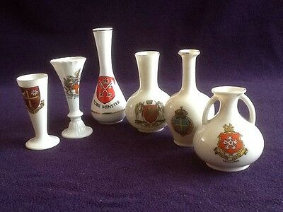 Job Lot CRESTED WARE China Souvenirs VASES London Leicester Norwich Abingdon Etc