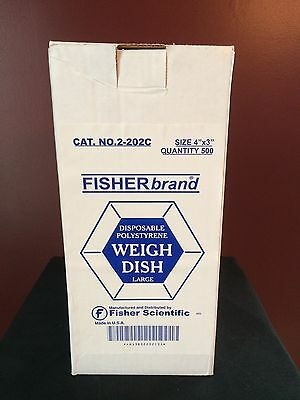 """Fisherbrand 4""""x3"""" Disposable Polystyrene Large Weigh Dishes  (Lot of 350+) NEW"""