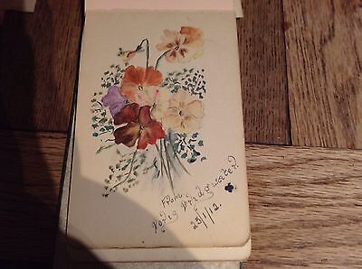 A Small Antique Autograph Book With Original Paintings, Poems And Scotches