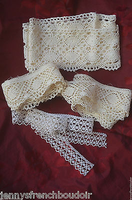 Antique French hand made bobbin lace pieces