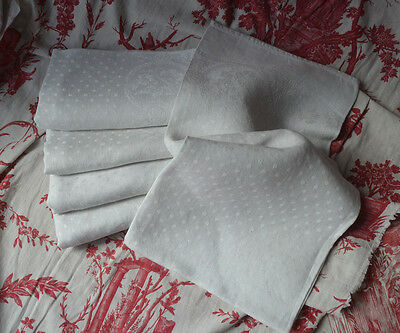 """6 antique French pure linen damask table napkins, 32½"""" x 28"""" - unused"""