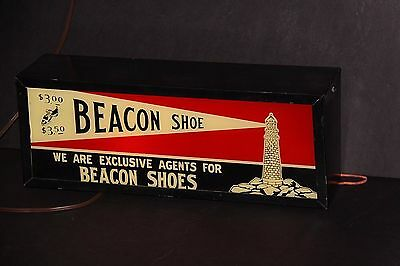 1930s BEACON SHOE lighted blinking sign reverse painted WORKS