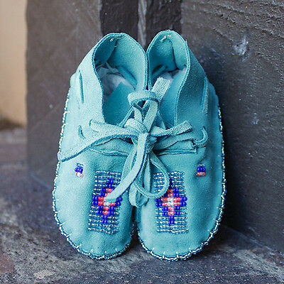 DEEP TURQUOISE LEATHER BEADED BABY MOCCASINS by JANET WHITEMAN - CHEYENNE