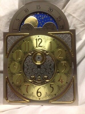 Floor Clock Dial Pewter.color With Brass Spaniels 1161 Type.