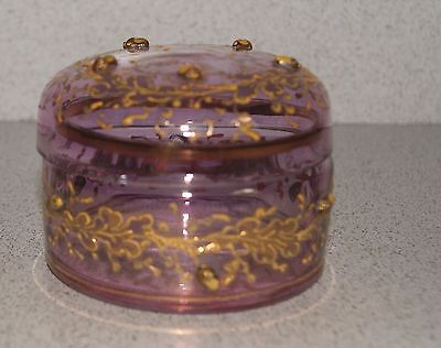 Bohemian Moser Amethyst Glass Trinket Box with Applied Acorns. c. 1890 -1900