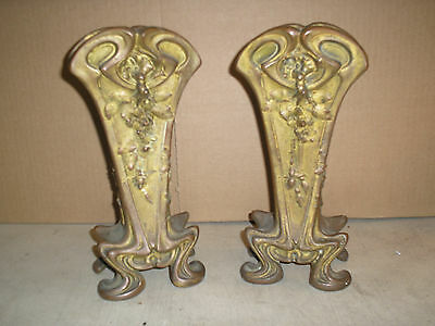 2 Antique Bronze Vases 10 Inch