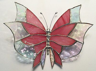 Large Pink Stained Glass  Butterfly  -  Handmade And  Stunning  !!!!!