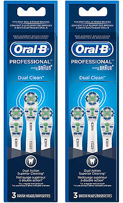 New Genuine ORAL B PROFESSIONAL DUAL CLEAN Replacement Heads - 6 Count
