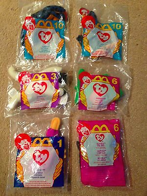 Lot of 6 TY McDonald's Teeny Beanie Babies Unopened, New in Plastic