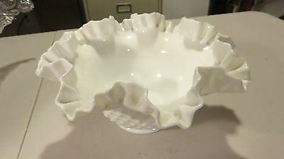 LARGE VINTAGE Fenton White Milk Glass Ruffled Compote HOBNAIL Bowl / Candy Dish