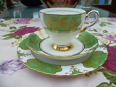 Lovely Vintage Tuscan English China Trio Tea Cup Saucer Green Gilded Birds 9161