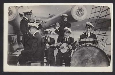 1920 Real Photo Postcard Naval Cadets Jazz Band HRH Prince George HMS Temeraire