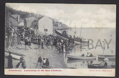 1905 Postcard Launching the New Lifeboat Aberdovey Merionethshire