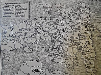 1540 Antique Map Of England - Munster's Edition Of Ptolemy - Reproduction