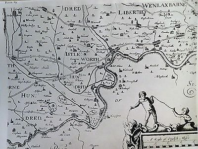 1677 Antique Map Of Middlesex - John Ogilby - Reproduction, Twickenham Isleworth