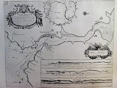 1693 Antique Chart Of Dartmouth - Greenvile Collins - Reproduction  Torbay Devon