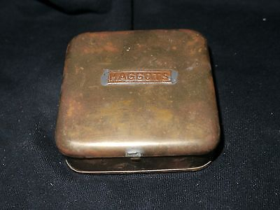 Brass Antique Fishing Bait Maggot Tin  Lovely Vintage Collectable Rare