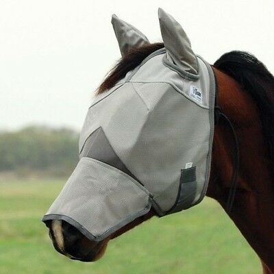 Cashel Crusader Fly Mask w/Ears & Long Nose - Grey/Silver - All Sizes