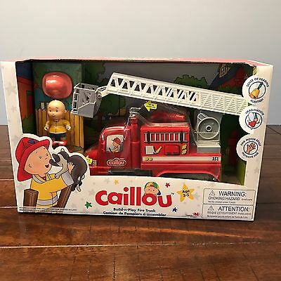 New CAILLOU BUILD N PLAY FIRE TRUCK Figure Light and Sound