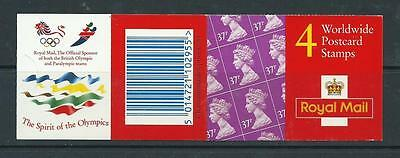 1996 Gl1 £1.48 Worldwide Postcard Olympics Booklet Complete Cylinder W1