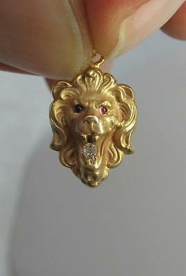 Lion Pendant Necklace Diamond Ruby Victorian Belle Epoque Gold Animal Jewelry