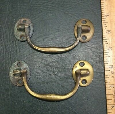 Pair of Antique Solid Brass Drawer Dresser Drop Pulls Handles