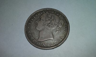1882 Newfoundland Canada 20 Cent Old Silver Canadian Victoria Coin