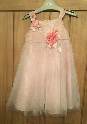 monsoon 12-18 months Girls Beautiful Pink Lace Dress Formal Party Rose