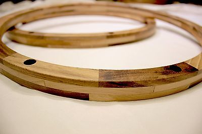"""Wood Snare Drum Wooden replacement Rims Hoops pair 14"""" inch sub for die cast"""
