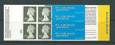 1998 GGA2 BOOKLET WITH 4 X 30p EUROPEAN AIRMAIL STAMPS CYLINDER W2