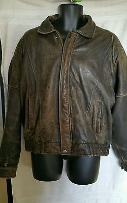 Mens XL Motorcycle Distressed Vintage Leather Jacket Bikers Casual Fashion