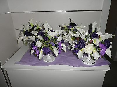 4 x Lovely Hand Made White & Purple Wedding Table Centrepieces