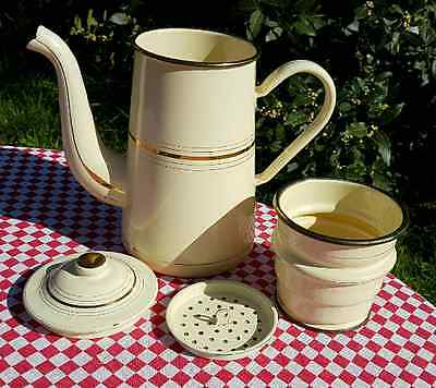 French Huge Size JAPY Cream Enamel Enamelled Coffee Pot / Cafetiere Kitchenalia