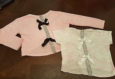 girls 3-6 months tops bundle jumper t-shirt bows sparkly next day summer modern